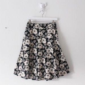 Gap Ivory Black Rose Floral Flare Skirt Bottom